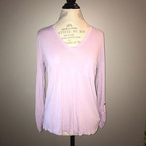 Lilac Tee with 3/4 Sleeves and Front Pocket Size S